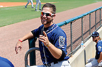 Mobile BayBears outfielder Ender Inciarte #6 in the dugout during a game against the Montgomery Biscuits on April 16, 2013 at Riverwalk Stadium in Montgomery, Alabama.  Montgomery defeated Mobile 9-3.  (Mike Janes/Four Seam Images)