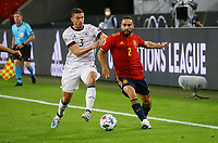 3rd September 2020; Stuttgart, Germany; UEFA Nations League football, Germany versus Spain;  Robin Gosens Germany challenges Daniel Carjaval  Spain