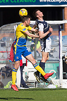 3rd April 2021; Dens Park, Dundee, Scotland; Scottish FA Cup Football, Dundee FC versus St Johnstone; Cammy Kerr of Dundee competes in the air with Callum Booth of St Johnstone