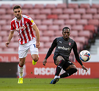 31st October 2020; Bet365 Stadium, Stoke, Staffordshire, England; English Football League Championship Football, Stoke City versus Rotherham United; Mickel Miller of Rotherham United takes a shot on goal