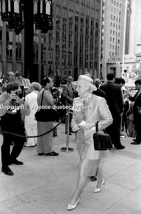 File Photo -  Jeanne Sauve<br />  attend<br /> Montreal 350th anniversary kick off celebrations, May 17, 1992, at Place-d-armes,<br /> <br />  Photo :  Agence Quebec Presse- Pierre Roussel
