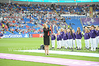 The Cor Glanaethwy North Wales choir give pre match entertainment and Jayne Ludlow displays the trophy during the UEFA Champions league final Women's football between Lyon and Paris Saint-Germain at Cardiff City Stadium on 1st June 2017<br /> <br /> <br /> Jeff Thomas Photography -  www.jaypics.photoshelter.com - <br /> e-mail swansea1001@hotmail.co.uk -<br /> Mob: 07837 386244 -