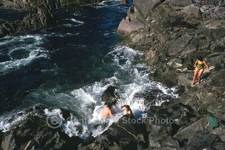 Hot Springs Cove in Maquinna Marine Provincial Park, in  Clayoquot Sound northwest of Tofino on Vancouver Island, British Columbia, Canada