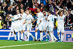 Real Madrid Marcelo, Mateo Kovacic, Cristiano Ronaldo, Toni Kroos, Raphael Varane, Karim Benzema, Sergio Ramos and Luka Modric celebrating a goal during Semi Finals UEFA Champions League match between Real Madrid and Bayern Munich at Santiago Bernabeu Stadium in Madrid, Spain. May 01, 2018. (ALTERPHOTOS/Borja B.Hojas)