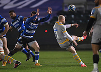 8th January 2021; Recreation Ground, Bath, Somerset, England; English Premiership Rugby, Bath versus Wasps; Ben Spencer of Bath tries to charge down the kick from Dan Robson of Wasps