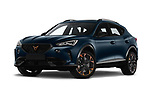 Stock pictures of low aggressive front three quarter view of 2021 Cupra Formentor - 5 Door SUV Low Aggressive
