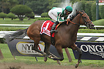 """August 23, 2014: Atremis Agrotera (NY) with Rajiv Maragh win the 36th running of the Grade I  Ballerina for fillies & mares, 3-year olds & up, a """"Win and You're In"""" going 7 furlongs at Saratoga Racetrack. Trainer: Michael Hushion. Owner: Chester and Mary Broman Sr. Sue Kawczynski/ESW/CSM"""