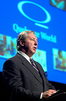 April 3rd 2002, Montreal, Quebec, Canada<br /> <br /> Charles G. Cavell President and Chief Executive Officer, Quebecor World Inc. adress the shareholders at Quebecor World annual meeting, April 3r 2002 in Montreal, Canada.<br /> <br /> Quebecor world operate 160 printing plants in 18 countries and his the larges global printing company in the world.<br />  <br />   <br /> Mandatory Credit: Photo by Pierre Roussel- Images Distribution. (©) Copyright 2002 by Pierre Roussel <br /> ON SPEC<br /> NOTE l Nikon D-1 jpeg opened with Qimage icc profile, saved in Adobe 1998 RGB.