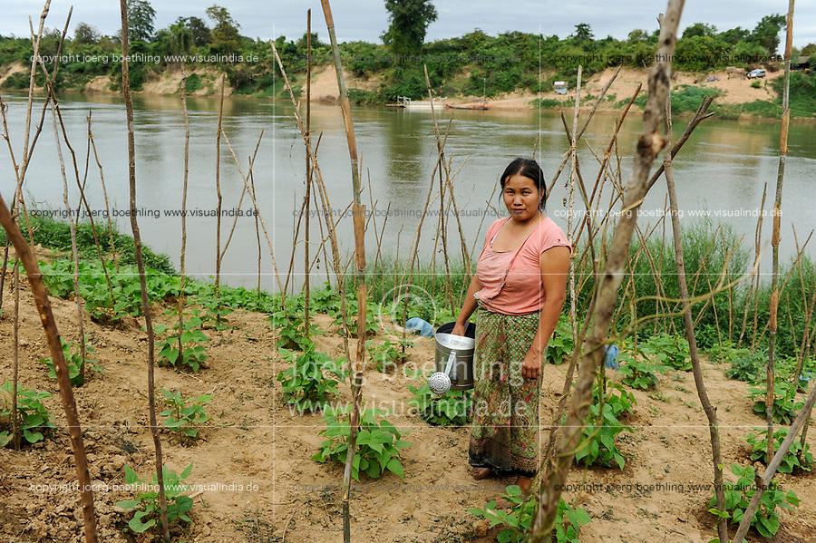 Laos, woman cultivates vegetable field near river, irrigation with river water / Laos, Farmerin baut Gemuese an einem Fluss an, Bewaesserung mit Flusswasser