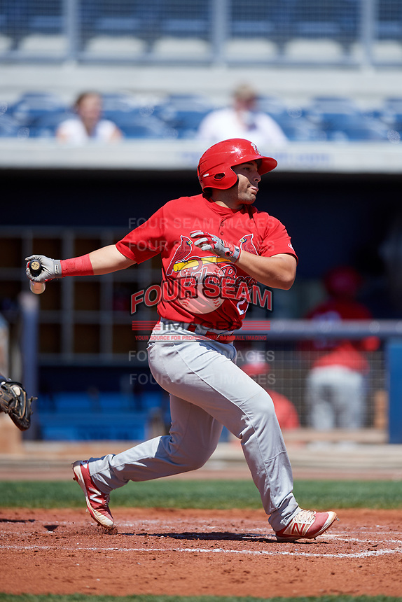 Palm Beach Cardinals catcher Jose Godoy (27) follows through on a swing during a game against the Charlotte Stone Crabs on April 12, 2017 at Charlotte Sports Park in Port Charlotte, Florida.  Palm Beach defeated Charlotte 8-7 in ten innings.  (Mike Janes/Four Seam Images)
