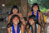 Ngoiwere Village, Mato Grosso State, Brazil. Four Kisedjer women and a baby.  (Nguynyindote).