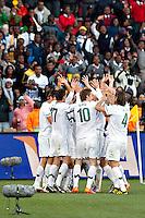 The Slovenia team celebrate the second goal against USA scored by Zlatan Ljubijankic