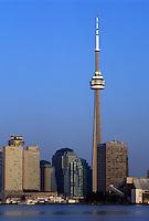 Toronto, Canada, Ontario, Lake Ontario, CN Tower and skyline of downtown Toronto from Toronto Inner Harbor on Lake Ontario.
