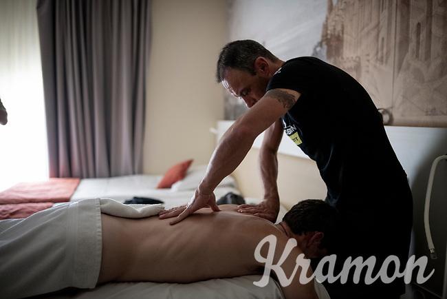 rest day massage at Team Mitchelton-Scott<br /> <br /> rest day 1<br /> 106th Tour de France 2019 (2.UWT)<br /> <br /> ©kramon