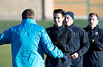 St Johnstone Training…28.12.18    McDiarmid Park<br />Scott Tanser listens to manager Tommy Wright for instructions in a sprint race ahead of tomorrow's game at Dundee.<br />Picture by Graeme Hart.<br />Copyright Perthshire Picture Agency<br />Tel: 01738 623350  Mobile: 07990 594431