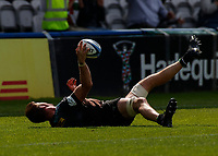 29th May 2021; Twickenham Stoop, London, England; English Premiership Rugby, Harlequins versus Bath; Lewies(c) of Harlequins scores and throws ball to the air