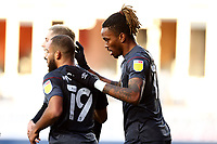 31st October 2020; Kenilworth Road, Luton, Bedfordshire, England; English Football League Championship Football, Luton Town versus Brentford; Ivan Toney of Brentford celebrates his goal with Bryan Mbeumo and Sergi Canos for 0-2 in the 29th minute
