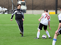 Thursday 11 April 2013<br /> Pictured:<br /> Re: Friendly game, Swansea City FC coaching staff v sports reporters at the Swansea City FC training ground. Final score 10-4.