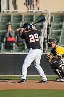 Michael Suiter (29) of the Kannapolis Intimidators at bat against the West Virginia Power at CMC-Northeast Stadium on April 21, 2015 in Kannapolis, North Carolina.  The Power defeated the Intimidators 5-3 in game one of a double-header.  (Brian Westerholt/Four Seam Images)