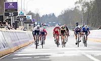 Wout van Aert (BEL/Jumbo-Visma) & Sep Vanmarcke (BEL/Israel Start-Up Nation) sprinting for 5th<br /> <br /> the 105th Ronde van Vlaanderen 2021 (MEN1.UWT)<br /> <br /> 1 day race from Antwerp to Oudenaarde (BEL/264km) <br /> <br /> ©kramon