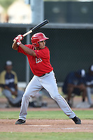 Los Angeles Angels of Anaheim second baseman Juan Moreno (6) during an Instructional League game against the Milwaukee Brewers on October 9, 2014 at Tempe Diablo Stadium Complex in Tempe, Arizona.  (Mike Janes/Four Seam Images)