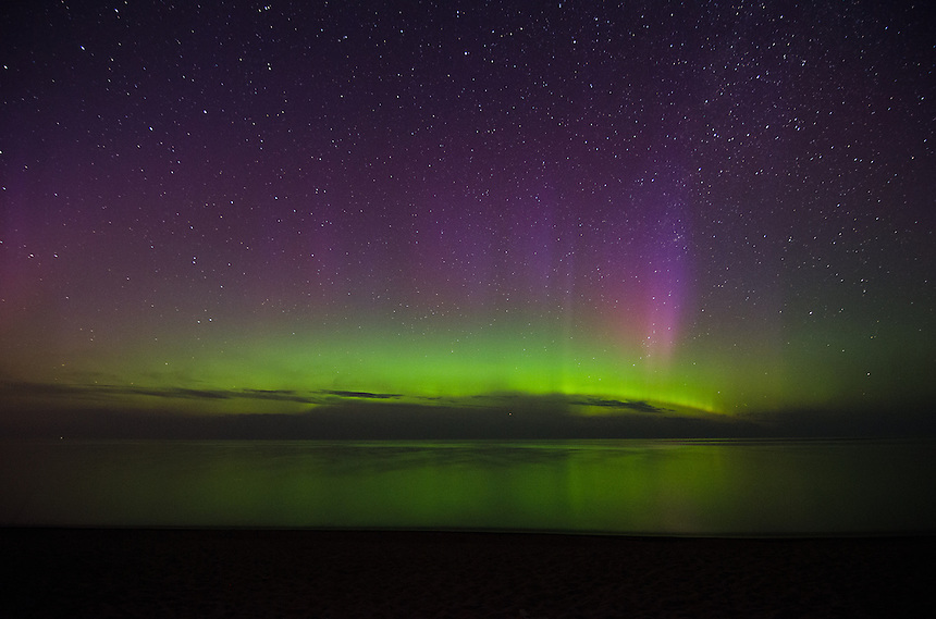 Northern Lights over Lake Superior. Marquette, MI