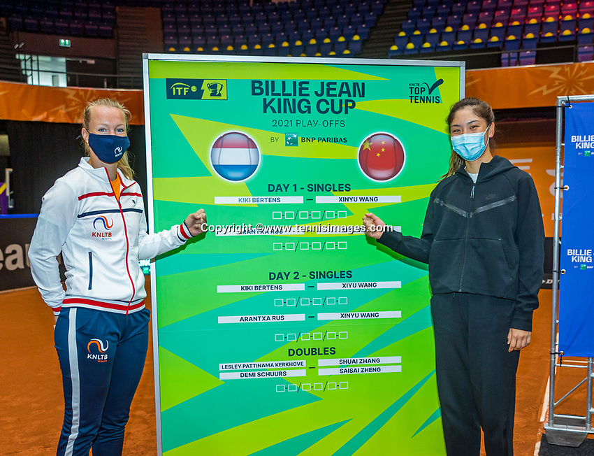 Den Bosch, The Netherlands, April 15, 2021,    Maaspoort, Billy Jean King Cup  Netherlands -  China : Draw ,  First round players: Kiki Bertens (NED) (L) and Xinyu Wang (CHN)<br /> Photo: Tennisimages/Henk Koster