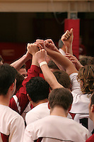 8 February 2006: The team huddles during Stanford's game against the University of Pacific at Burnham Pavilion in Stanford, CA.
