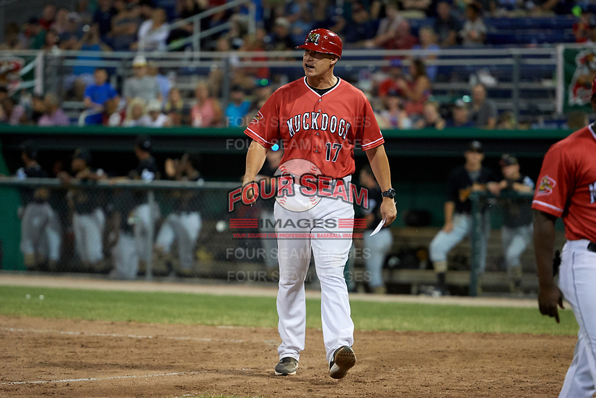 Batavia Muckdogs manager Mike Jacobs (17) walks off the field during a game against the West Virginia Black Bears on July 3, 2018 at Dwyer Stadium in Batavia, New York.  Batavia defeated West Virginia 5-4.  (Mike Janes/Four Seam Images)