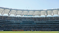 5th September 2021; Optus Stadium, Perth, Australia: Bledisloe Cup international rugby, Australia versus New Zealand; Australia and New Zealand players line up for the National Anthems in front of a Full stadium of fans