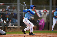 Indiana State Sycamores Dominic Cusumano (8) bats during a game against the Dartmouth Big Green on February 21, 2020 at North Charlotte Regional Park in Port Charlotte, Florida.  Indiana State defeated Dartmouth 1-0.  (Mike Janes/Four Seam Images)