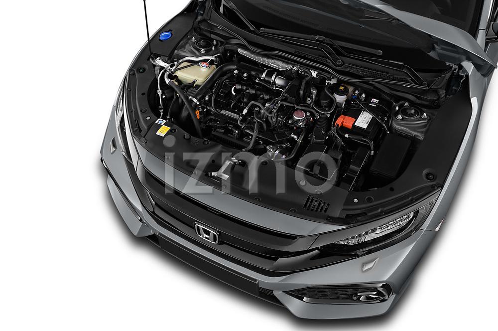 Car Stock 2017 Honda Civic Executive 5 Door Hatchback Engine  high angle detail view