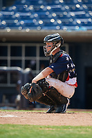 Quad Cities River Bandits catcher Michael Papierski (9) gives the signs during a game against the West Michigan Whitecaps on July 23, 2018 at Modern Woodmen Park in Davenport, Iowa.  Quad Cities defeated West Michigan 7-4.  (Mike Janes/Four Seam Images)