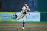 Western Carolina Catamounts relief pitcher Davis Tyndall (31) follows through on his delivery against the Saint Joseph's Hawks at TicketReturn.com Field at Pelicans Ballpark on February 23, 2020 in Myrtle Beach, South Carolina. The Hawks defeated the Catamounts 9-2. (Brian Westerholt/Four Seam Images)