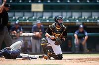 Bradenton Marauders catcher Jason Delay (5) checks the runner after tagging Lucius Fox (2) out at home with umpire Dane Bassett making the call during a game against the Charlotte Stone Crabs on June 3, 2018 at LECOM Park in Bradenton, Florida.  Charlotte defeated Bradenton 10-1.  (Mike Janes/Four Seam Images)