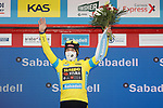 Race leader Primoz Roglic (SLO) Team Jumbo-Visma retains the Yellow Jersey at the end of Stage 2 of the Itzulia Basque Country 2021, running 154.8km from Zalla to Sestao, Spain. 6th April 2021.  <br /> Picture: Luis Angel Gomez/Photogomezsport   Cyclefile<br /> <br /> All photos usage must carry mandatory copyright credit (© Cyclefile   Luis Angel Gomez/Photogomezsport)