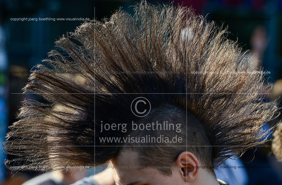 GERMANY, Hamburg, protest rally on St. Pauli against G-20 summit in july 2017 , punk with Iroquois haircut