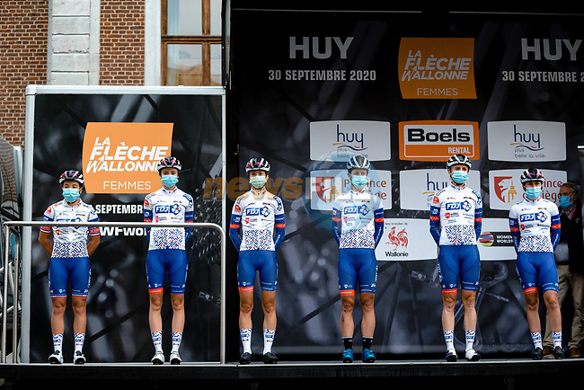 FDJ Nouvelle-Aquitaine Futuroscope at sign on before La Fleche Wallonne Femmes 2020, running 124km from Huy to Mur de Huy, Belgium. 30th September 2020.<br /> Picture: ASO/Thomas Maheux | Cyclefile<br /> All photos usage must carry mandatory copyright credit (© Cyclefile | ASO/Thomas Maheux)