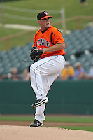 Bowie Baysox pitcher Bobby Bundy #41 delivers a pitch during a game against the New Hampshire Fisher Cats at Prince George's Stadium on June 17, 2012 in Bowie, Maryland. New Hampshire defeated Bowie 4-3 in 13 innings. (Brace Hemmelgarn/Four Seam Images)