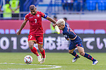 Abdulwahab Ali Alsafi of Bahrain (L) competes for the ball with Chanathip Songkrasin of Thailand during the AFC Asian Cup UAE 2019 Group A match between Bahrain (BHR) and Thailand (THA) at Al Maktoum Stadium on 10 January 2019 in Dubai, United Arab Emirates. Photo by Marcio Rodrigo Machado / Power Sport Images