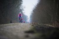 Paris-Roubaix 2013 RECON..Filippo  Pozzato (ITA) Trouée d'Arenberg reconnaissance..