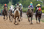 May 18, 2013, Hello Lover (#9, black cap, green sleeves), trained by Robert Reid, John Bisono up, wins race 2, the Deputed Testamony Starter Allowance at Pimlico Race Course in Baltimore, MD.  (Joan Fairman Kanes/Eclipse Sportswire)