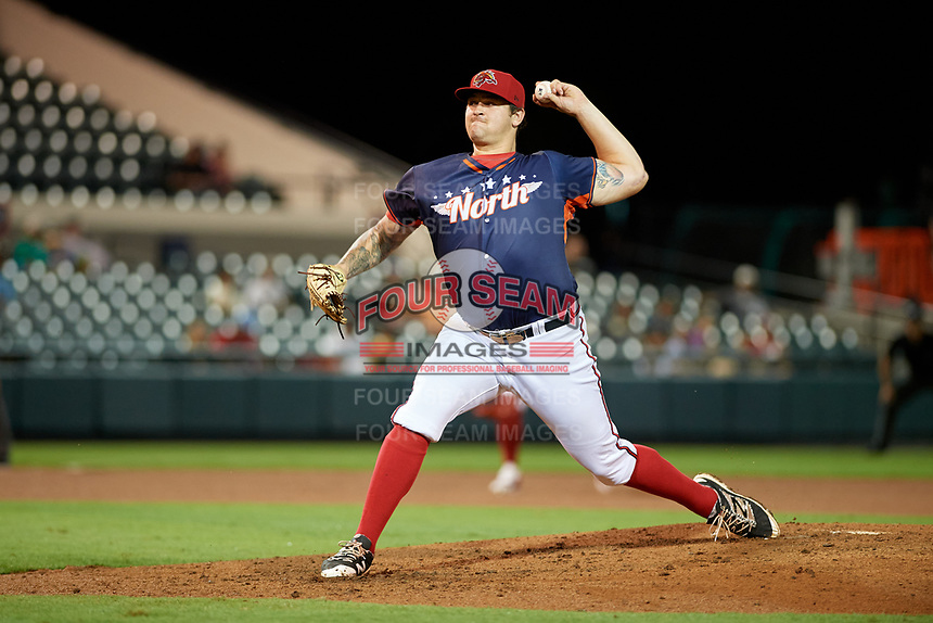 Florida Fire Frogs pitcher Chase Johnson-Mullins (55) during the Florida State League All-Star Game on June 17, 2017 at Joker Marchant Stadium in Lakeland, Florida.  FSL North All-Stars defeated the FSL South All-Stars  5-2.  (Mike Janes/Four Seam Images)