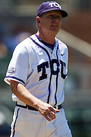 Manager Jim Schlossnagle #22 of the Texas Christian University Horned Frogs during the NCAA Regional baseball game against the Ole Miss Rebels on June 1, 2012 at Blue Bell Park in College Station, Texas. Ole Miss defeated TCU 6-2. (Andrew Woolley/Four Seam Images)