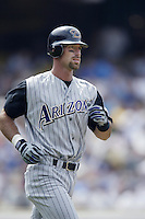 Luis Gonzalez of the Arizona Diamondbacks runs the bases during a 2002 MLB season game against the Los Angeles Dodgers at Dodger Stadium, in Los Angeles, California. (Larry Goren/Four Seam Images)