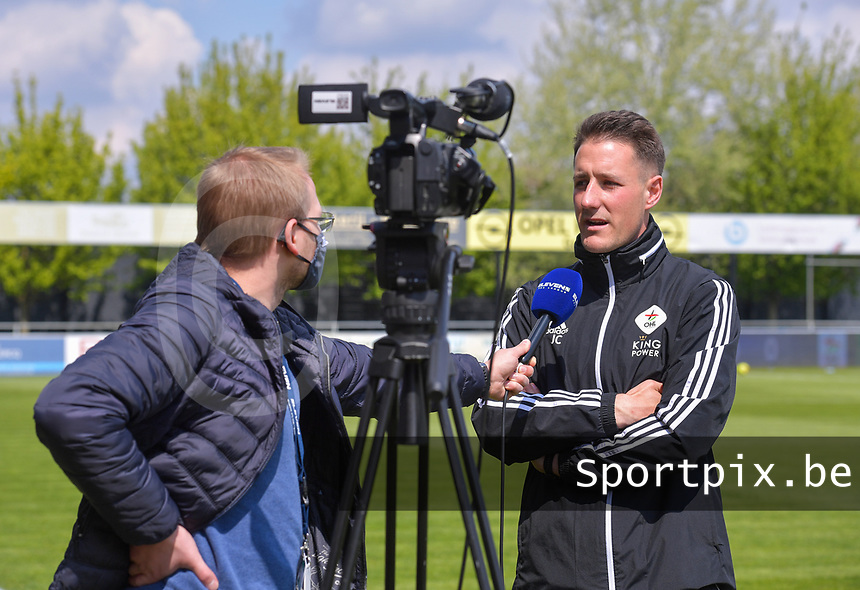 Head coach Jimmy Coenraets of OHL gives an interview before a female soccer game between  AA Gent Ladies and Oud Heverlee Leuven on the fourth matchday of play off 1 in the 2020 - 2021 season of Belgian Scooore Womens Super League , saturday 1 st of May 2021  in Oostakker , Belgium . PHOTO SPORTPIX.BE | SPP | STIJN AUDOOREN