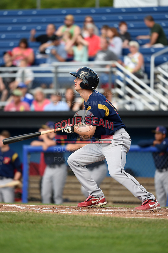 State College Spikes second baseman Danny Diekroeger (19) at bat during a game against the Batavia Muckdogs on June 22, 2014 at Dwyer Stadium in Batavia, New York.  State College defeated Batavia 10-3.  (Mike Janes/Four Seam Images)
