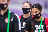 ORLANDO, FL - FEBRUARY 24: CANWNT walks into the stadium before a game between Brazil and Canada at Exploria Stadium on February 24, 2021 in Orlando, Florida.