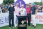 (L-R) Feng Xiaogang, Tenniel Chu, Gary Player, and Michael Douglas at the 1st holeWorld Celebrity Pro-Am 2016 Mission Hills China Golf Tournament on 22 October 2016, in Haikou, China. Photo by Marcio Machado / Power Sport Images