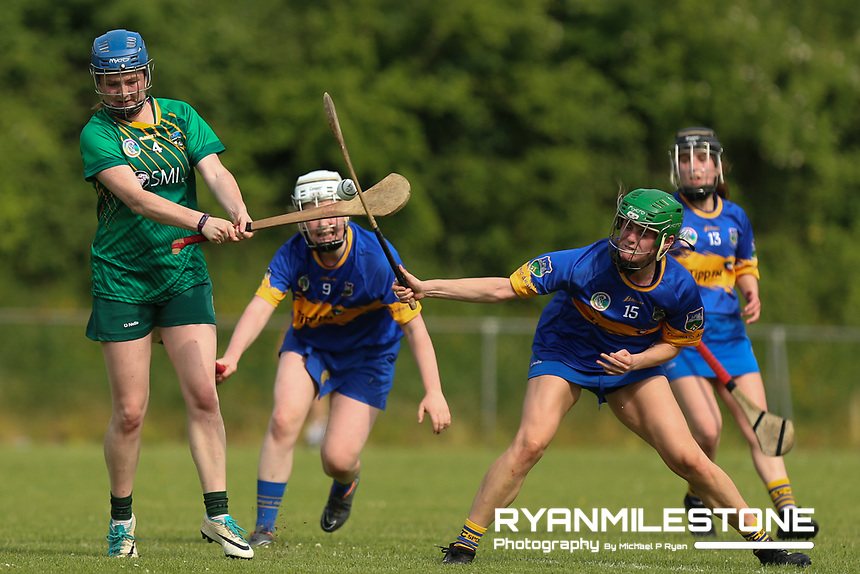 Meath's Emma McGill in action against Tipperary's Roisin Cahill and Casey Hennessy during the Liberty Insurance All Ireland Senior Camogie Championship Round 1 between Tipperary and Meath at the Ragg, Co Tipperary. Photo By Michael P Ryan.